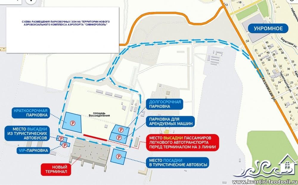 Схема парковок возле аэропорта Симферополь