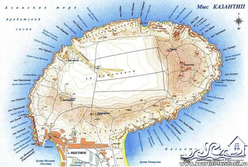 Карта пляжей мыса Казантип