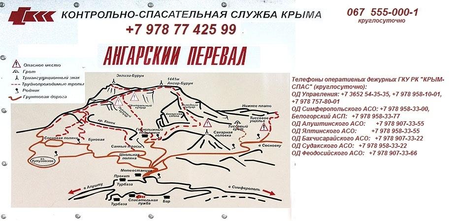 Схема Ангарского перевала и телефоны Контрольно-спасательной службы Крыма